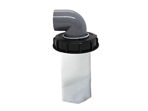 IBC Filtro de tapa de nailon lavable con tapa para tanque de agua de lluvia IBC 1000 litros DN 75 de fieltro de aguja (160 mm 90 °)