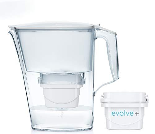 Aqua Optima Título estándar-Jarra de agua Liscia + 1 1 filtro Evolve de 30 días. 1 pack mensual, blanco, 2,4 litros, 150x266x258