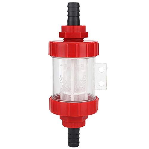 HERCHR Filtro de Malla en línea, Filtro de Bomba G1/2 '' Conector de riego de jardín Bomba de Agua Filtro Transparente, Plástico, Rojo