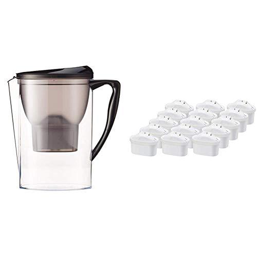 AmazonBasics - Jarra con filtro de agua de 2,3 l y paquete de 15 cartuchos de filtro de agua + 1 gratis (paquete de 16 en total), se adapta a las jarras BRITA Maxtra (excepto Maxtra+)