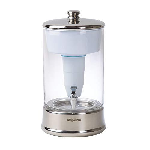 ZeroWater Dispensador de Agua Filtrada de 9 litros de Cristal, Medidor de Calidad de Agua Gratis, Libre de BPA y Certificado para Reducir el Plomo y Otros Metales Pesados, Cartucho Filtro Incluido