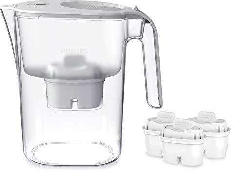 Phillips - AWP2936 - Jarra filtro de agua, Incluye 3 cartuchos Micro X Clean, Reduce la cal, el cloro y los Microplásticos y PFOA, Agua filtrada con gran sabor y pureza, 3 Litros, blanco