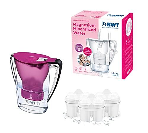BWT Penguin Electrónica – Jarra filtradora de agua con magnesio + Pack 3 filtros jarra de agua, 2,7 L Violeta