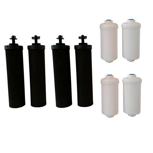 Berkey Cuatro filtros de repuesto negros (BB9) y cuatro filtros de agua con fluoruro (PF2)