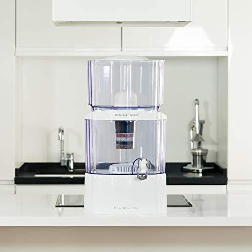 ECODE Torre Jarra de Agua purificadora, 8 Sistemas de filtrado, Filtro cerámico, Carbon, Piedras Naturales Aqua Filter Tower
