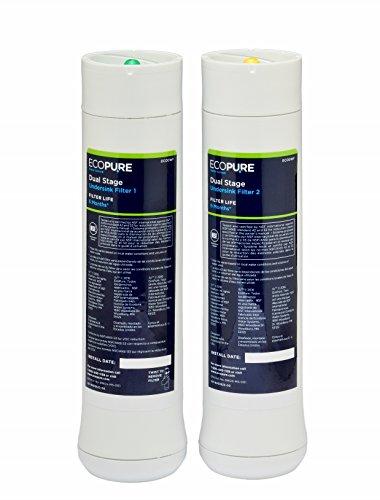 Ecopure ECODWF1 previo y Posterior para Filtro de Doble Efecto, Blanco
