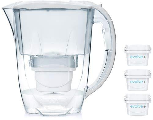 Aqua Optima Jarra Oria con 3 Cartuchos de Filtro de Agua Evolve+ 30 días, Blanco