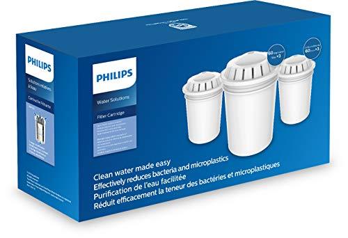 Phillips - AWP261 - Cartucho Filtro de agua para Jarras Philips AWP2950, AWP2970, Reduce la cal, contaminantes y microplásticos, Capacidad de filtrado 200 Litros / 1 mes, Pack 3 Unidades