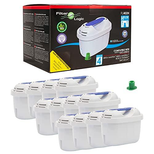 Filterlogic FL402H | Pack de 12 - Filtro de agua compatible con Brita Maxtra+ para Jarra con filtro Marella Style Aluna Elemaris Flow XL cool, TASSIMO