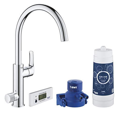 Grohe Blue Pure Eurosmart - Grifo de cocina con filtro de agua, Kit de iniciación, color cromo (Ref.30383000)