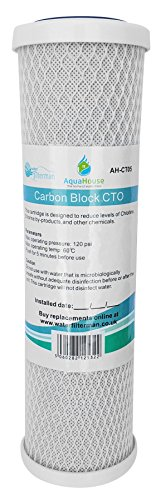 AquaHouse AH-CTO5 Cartuchos de filtro de agua de bloque de carbono de 10'para agua potable, sistemas de ósmosis inversa, para todas las carcasas de filtro de 10'