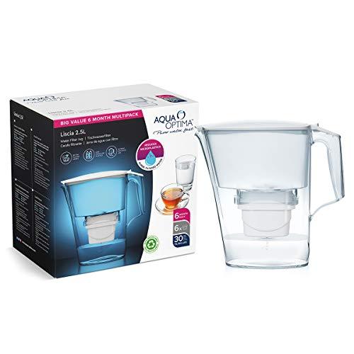 Aqua Optima Jarra Liscia + 6 cartuchos de filtro de agua Evolve. Pack de 6 meses, blanco, 2,8 litros, 172x264x263