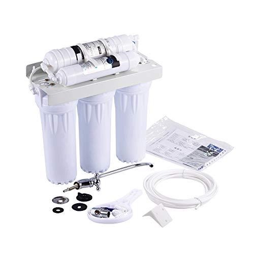 Fuente de sistema de filtro purificador de agua, debajo del fregadero Fuente de sistema de filtrado de agua de 6 etapas con cinta, desinfección de agua no eléctrica Fuente de filtración ablandada