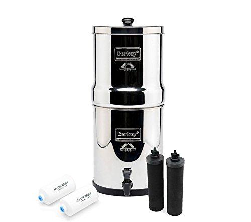 Royal Berkey - Filtro de agua completo con 2 purificadores negros con 2 filtros de fluoruro PF-2 ~ sistema de filtración de acero inoxidable