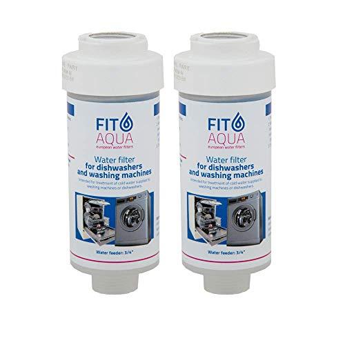 Fit aqua AC-WSM AM-SET-I - Juego de 2 filtros para lavadora, filtro de cal para lavavajillas, filtro de agua Fitaqua, 2 unidades