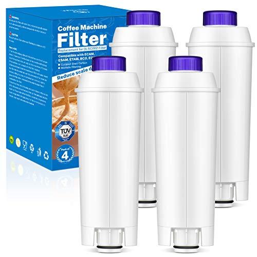 Onesight 4PCS Filtro Cafetera para DLSC002 Filtro de Agua Cartuchosde Carbón Activado Filtro para Delonghi, ECAM, ESAM, ETAM, BCO, EC, EC680, EC800, EC820, BCO420, BCO410
