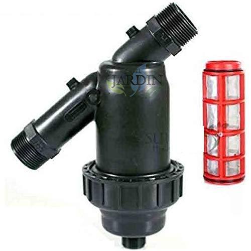 Suinga FILTRO de MALLA 1' para tubería 32mm. Incluye tapón de vaciado. Utilizado en instalaciones de riego y RIEGO POR GOTEO. Rosca 1' y capacidad filtrado 120 Mesh.