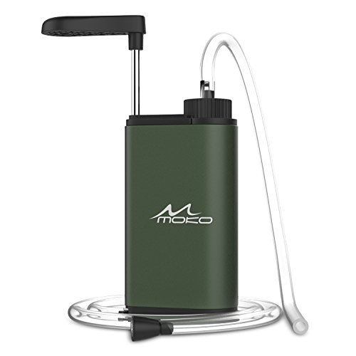 MoKo Filtro de Agua Portátil, Water Filter Emergencia Personal Purificador de Agua para Campamento o Acampada Deport al Aire Libre y Supervivencia Mate Ejército Finalizado - Verde