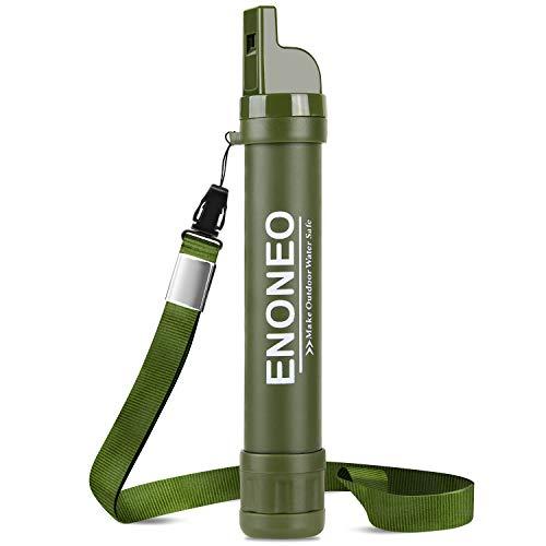 ENONEO Filtro de Agua Personal 1500L Purificador Agua Portatil Elimine 99.99% de Bacterias y Protozoos con Espejo, Silbato y Brújula Filtro Agua Supervivencia Senderismo Acampada Emergencia (Verde)