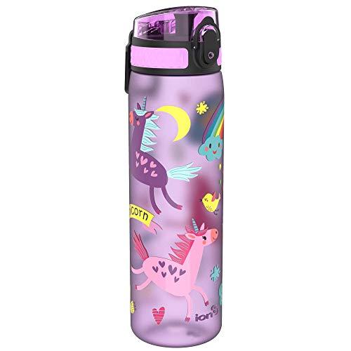 Ion8 Botella Agua Sin Fugas, Sin BPA, 600ml, Unicornios