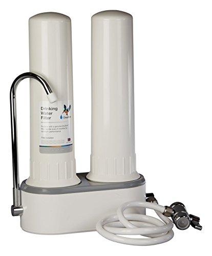Doulton HCP Double W9380003, Filtro purificador de agua, doble, sobre encimera, de plástico de calidad alimentaria, color blanco