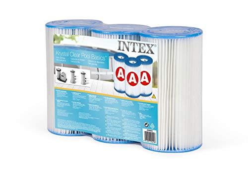 Intex 29003 - Pack 3 cartuchos tipo A, altura 20,2 cm, diámetro 10,8/5 cm