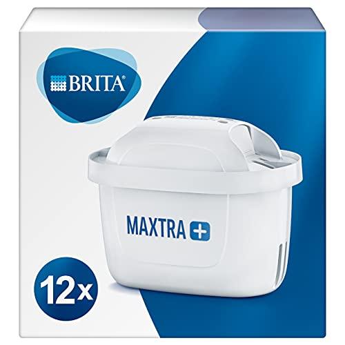 BRITA MAXTRA+ – Pack12filtros para el agua,Cartuchos filtrantes compatibles con jarras BRITA que reducen la cal y el cloro