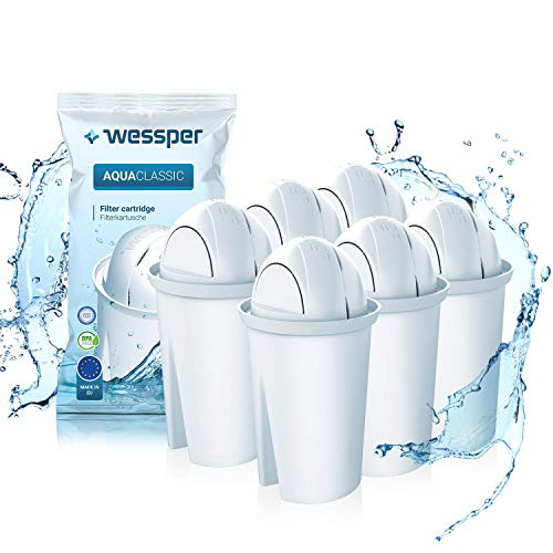 Wessper® AquaClassic Cartuchos de filtrado de Agua, Compatible con BRITA Classic, Dafi Classic, PearlCo - 6 Unidades