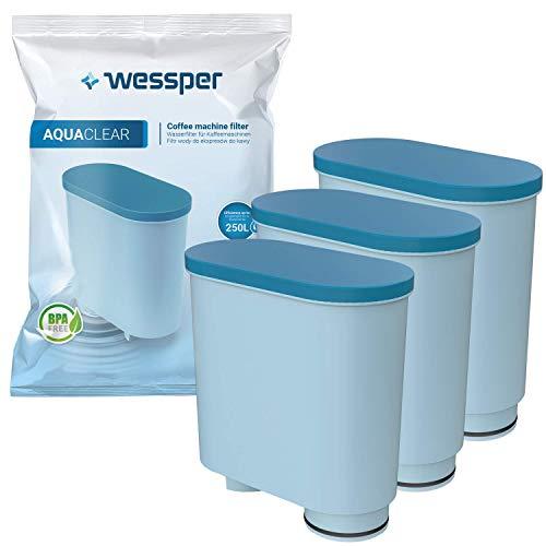 Wessper Filtro de agua antical compatible con Saeco AquaClean CA6903/00 CA6903/01 CA6903/99 CA6903 Cartucho filtrante Aqua Clean para máquina cafetera de café y espresso, 3 piezas