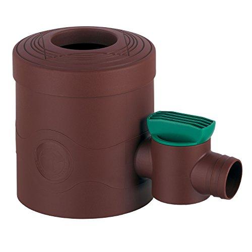 Colector de lluvia para bajante con filtro. Grifo marrón para bajante con diámetro de 68a100mm. Bajante cuadrada de 60 x 60 mm para llenar barriles o tanques con agua de lluvia