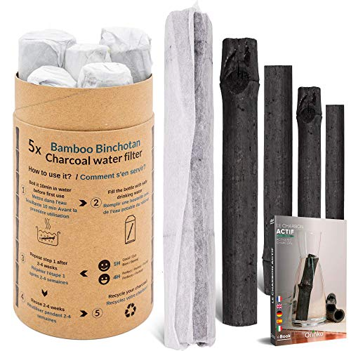 Vibratis Binchotan Orgánico 5X - Carbón Activo Binchotan de Bambú para Purificación de Agua de Grifo en Jarra
