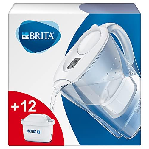 BRITAMarellablancaPack Ahorro – Jarra de Agua Filtrada con12cartuchos MAXTRA+, Filtro de agua BRITA que reduce la cal y el cloro, Agua filtrada para un sabor óptimo,2.4L