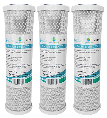 3x AquaHouse AH-CTO5 Cartuchos de filtro de agua de bloque de carbono de 10'para agua potable, sistemas de ósmosis inversa, para todas las carcasas de 10'