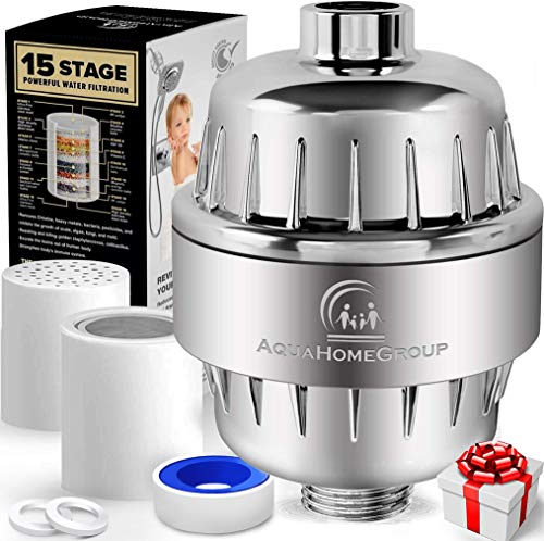AquaHomeGroup Filtro de Agua para la Ducha de 15 Etapas con Vitamina C - Filtro para Ducha Alta Presion para Eliminar Cloro y Fluoruro - 2 Cartuchos incluidos - Filtro Ducha Antical