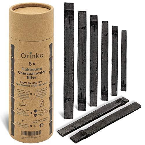 Orinko Binchotan Bio 8X - Carbón activo Takesumi de bambú para purificación de agua + libro electrónico para pasar agua en botella con nuestro carbón activo