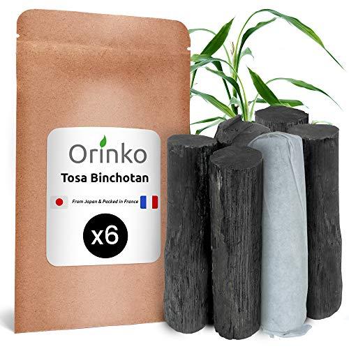 Orinko Binchotan japonés de TOSA x6 (150 g, 25 g x 6)   Carbón activo blíster tradicional japonés (Kochi) procedente de roble Ubame para purificación de agua en jarra