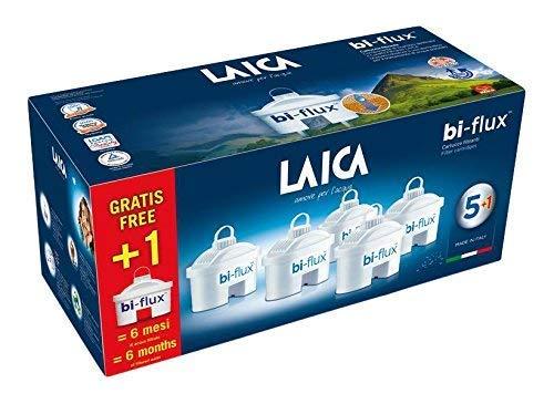 Pack de 6 filtros (5+1) bi-flux que mejoran el sabor del agua, reducen la cal y el cloro, compatibles con las jarras Laica y Brita entre otras. Cada filtro dura 150 litros o 1 mes.