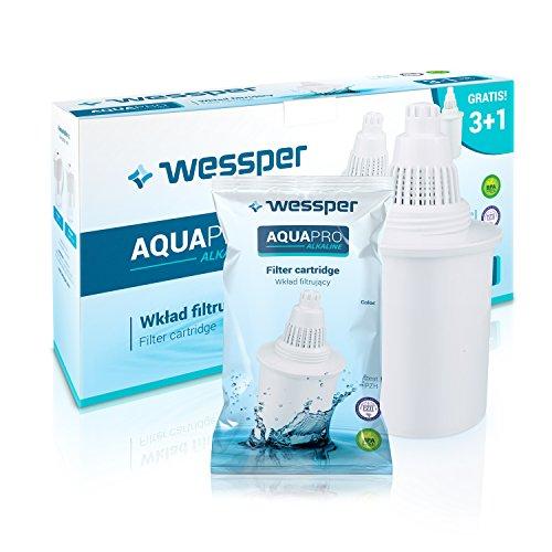 Wessper 4 Cartuchos de filtrado de agua alkalina AQUApro-Sistema de filtración ionizador de 7 fases- agua saludable, Blanco