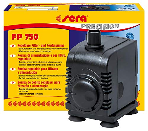 Sera 30600de Bomba de extracción y filtro FP 750regulable para agua mar y agua dulce (Qmax: 750L/h hmax: 1,50m a 12W con conector de la UE y 13mm Manguera Boquilla y 1,8m cable de alimentación)
