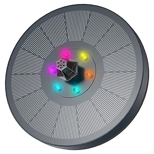 Fuente Solar con Luces LED, AISITIN 3W Solar Fuente Bomba con Filtrar y Barras Anticolisión Fijación, Para Estanques de Jardín, Fuente, Depósito de Pescado