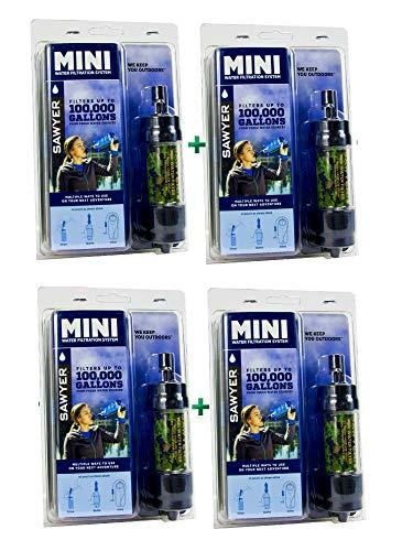 Sawyer MINI - Filtro de agua, edición limitada, para actividad al aire libre, camping, senderismo, filtro de agua, tratamiento del agua, 4-er Set Camouflage