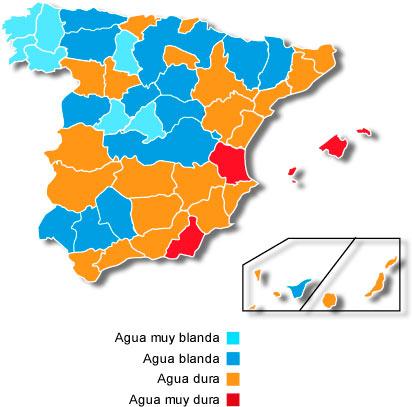 Mapa de dureza del agua en España